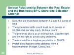 unique relationship between the real estate and the business bp c store site selection criteria