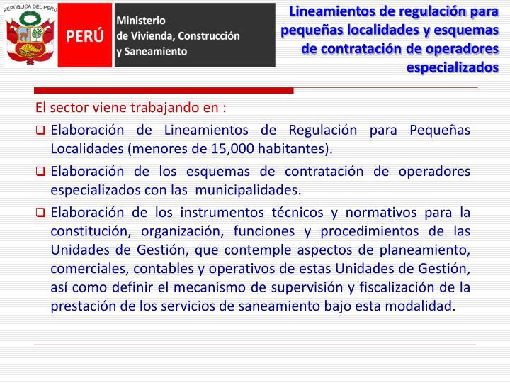Lineamientos de regulación para pequeñas localidades y esquemas de contratación de operadores especializados