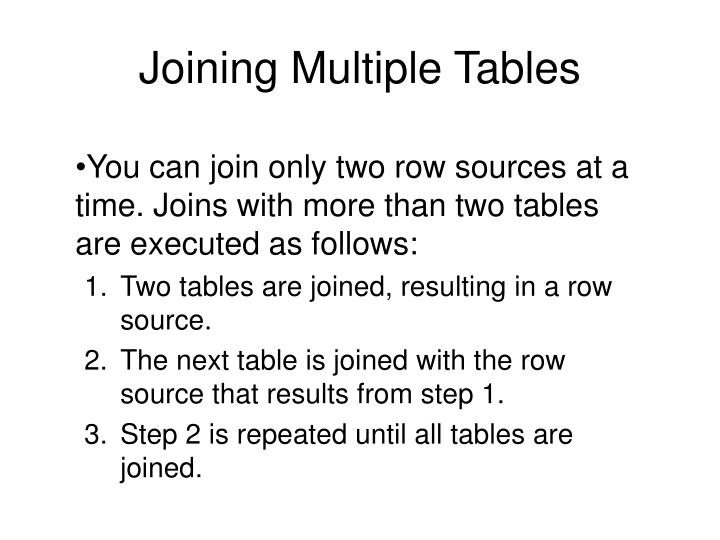 Joining Multiple Tables