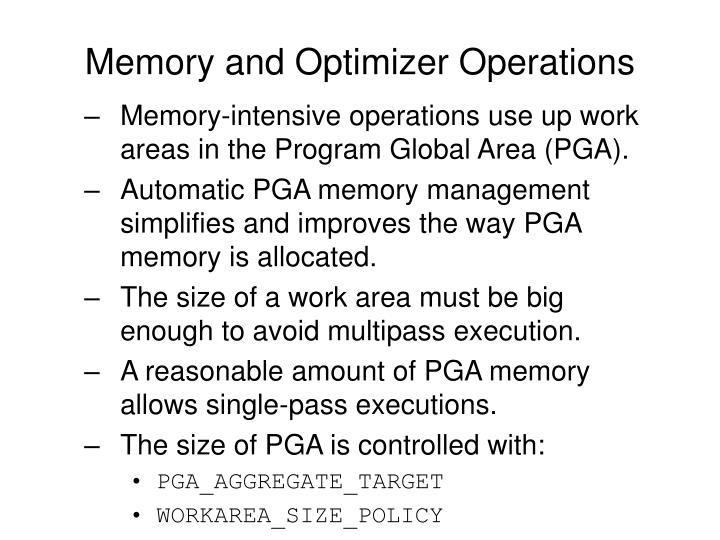 Memory and Optimizer Operations