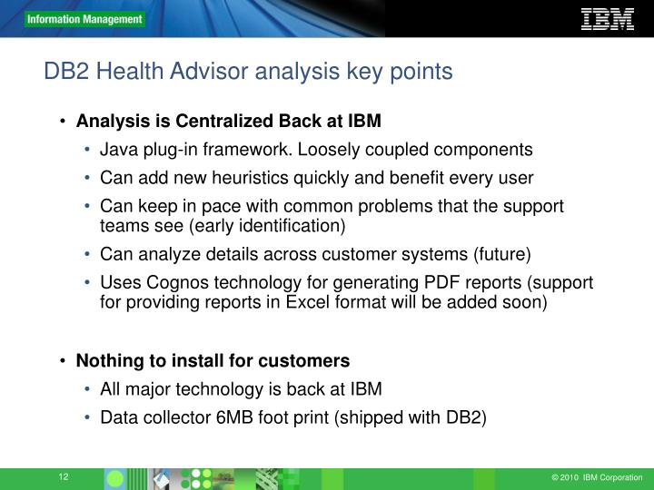 DB2 Health Advisor analysis key points