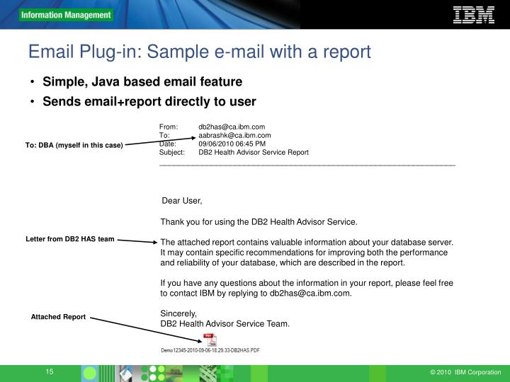 Email Plug-in: Sample e-mail with a report