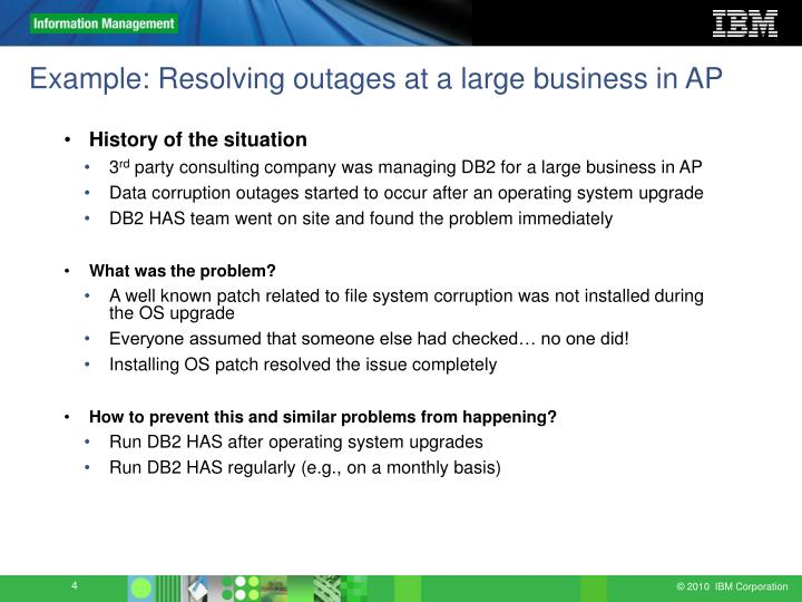 Example: Resolving outages at a large business in AP