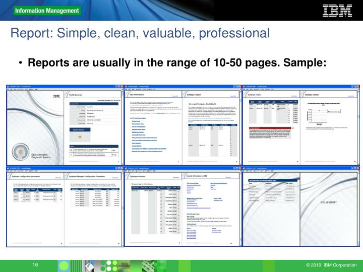 Report: Simple, clean, valuable, professional