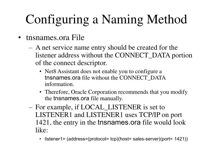 Configuring a Naming Method