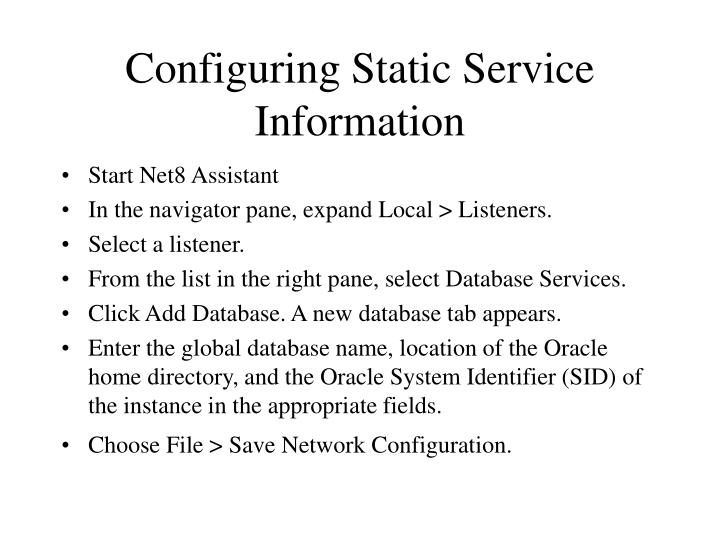 Configuring Static Service Information