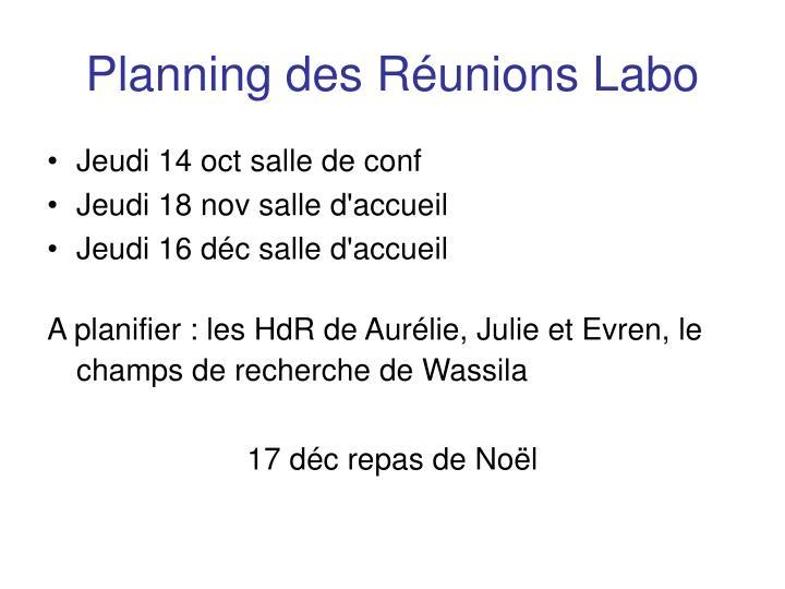 Planning des Réunions Labo