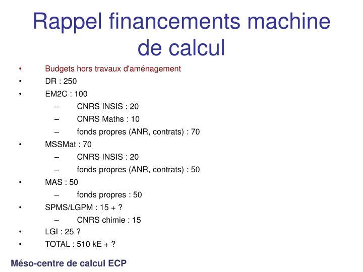 Rappel financements machine de calcul