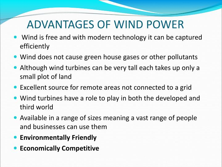 ADVANTAGES OF WIND POWER