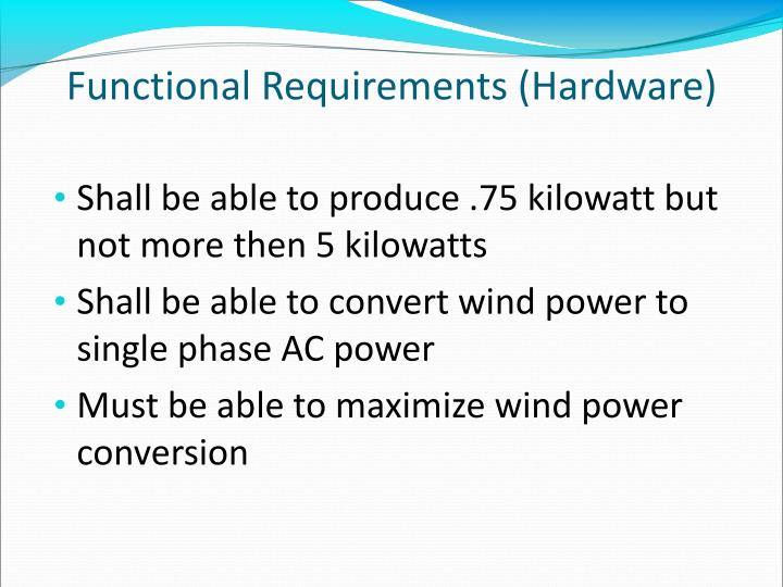 Functional Requirements (Hardware)