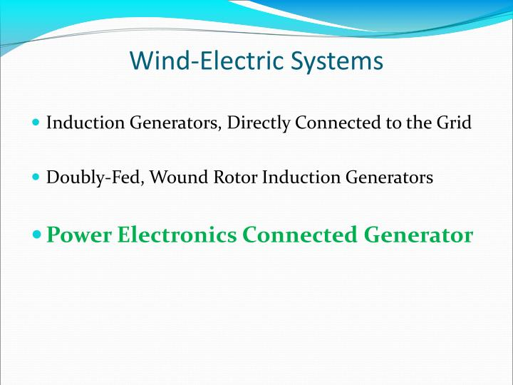 Wind-Electric Systems