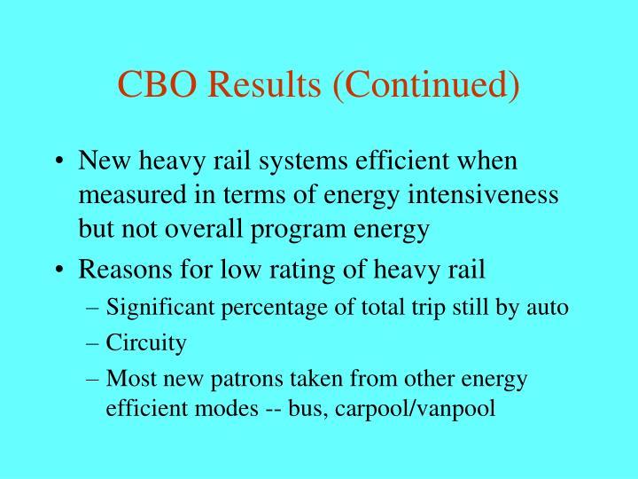 CBO Results (Continued)
