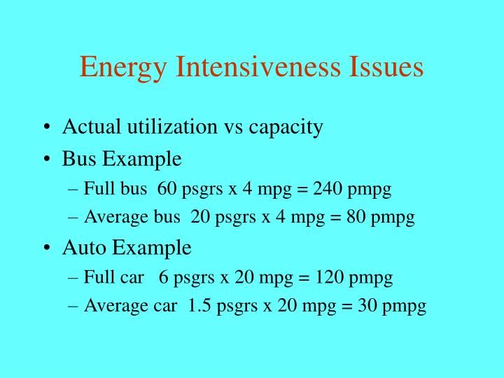 Energy Intensiveness Issues