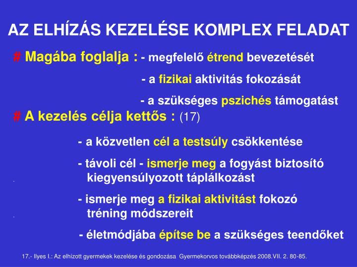 AZ ELHÍZÁS KEZELÉSE KOMPLEX FELADAT