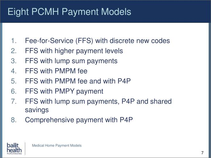 Eight PCMH Payment Models
