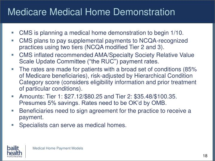 Medicare Medical Home Demonstration
