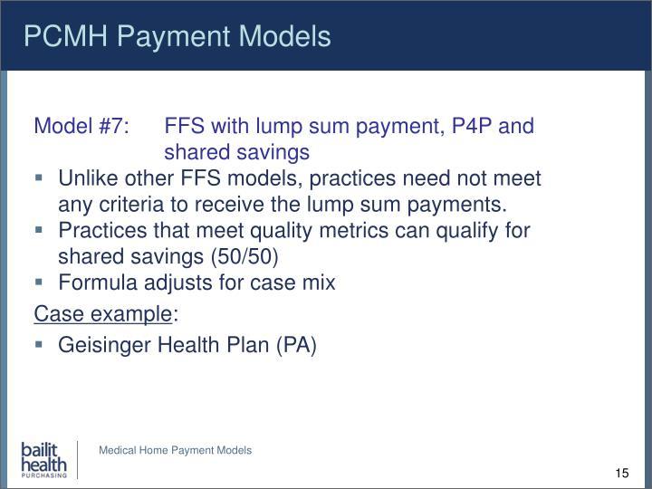 PCMH Payment Models