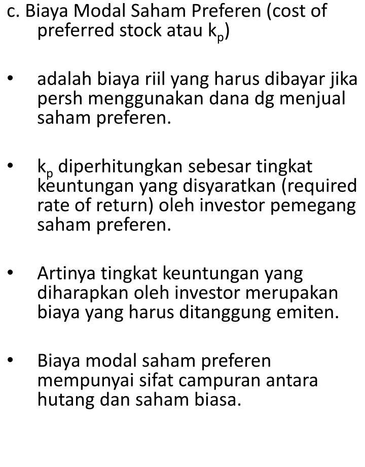 c. Biaya Modal Saham Preferen (cost of preferred stock atau k
