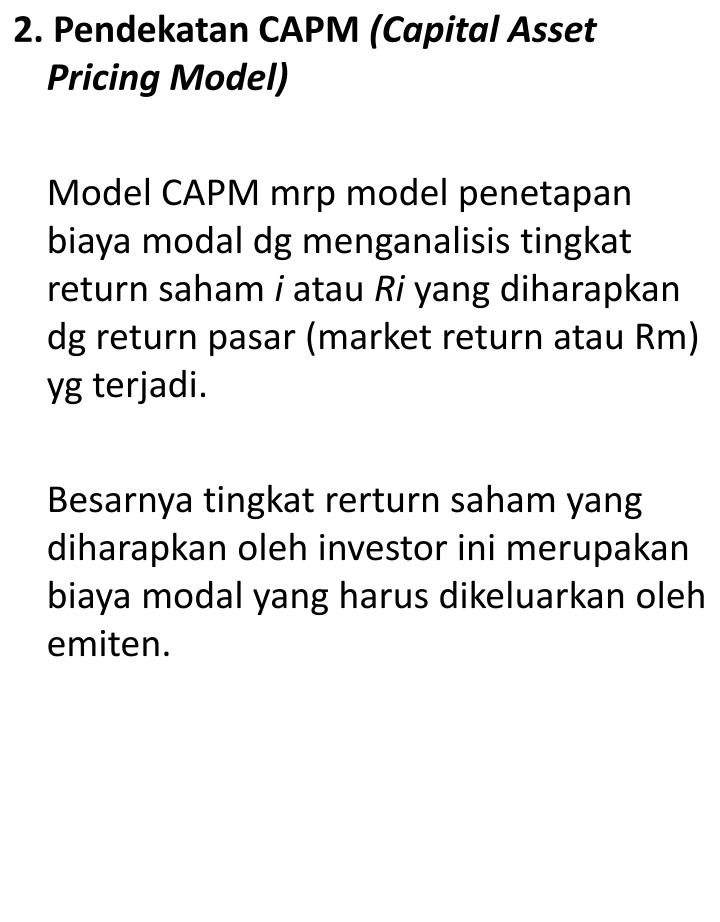 2. Pendekatan CAPM
