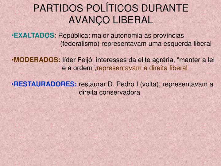 PARTIDOS POLÍTICOS DURANTE AVANÇO LIBERAL