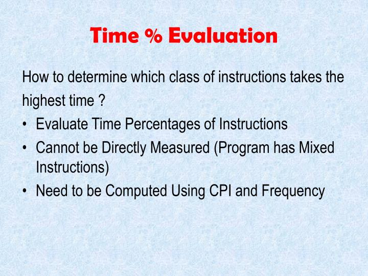 Time % Evaluation