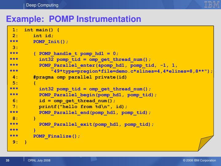 Example:  POMP Instrumentation