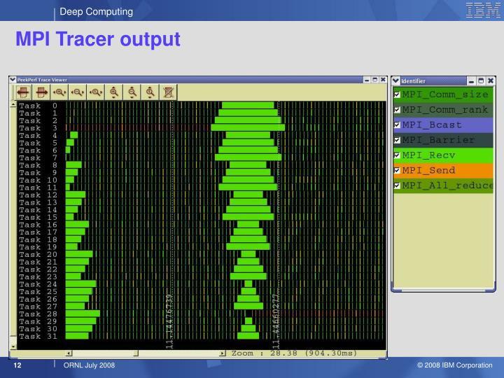 MPI Tracer output