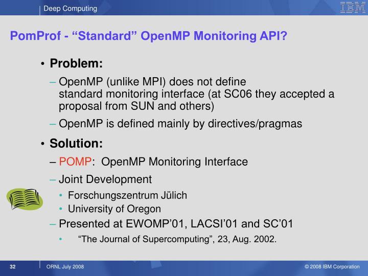 "PomProf - ""Standard"" OpenMP Monitoring API?"