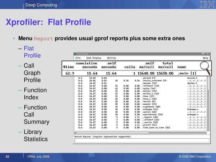 Xprofiler:  Flat Profile