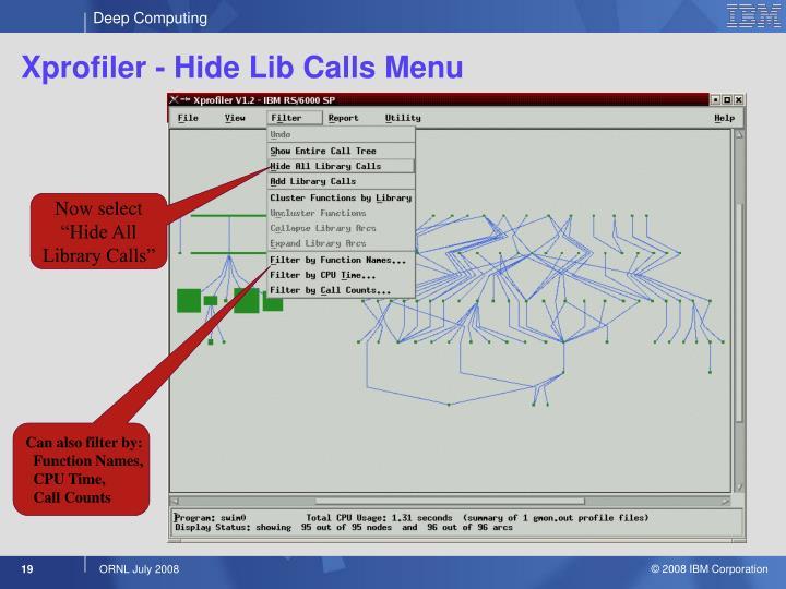Xprofiler - Hide Lib Calls Menu