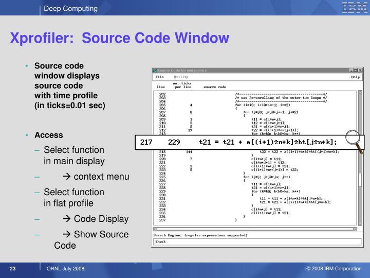 Xprofiler:  Source Code Window