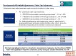 development of detailed adjustments claim cap adjustment