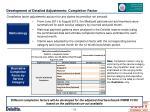 development of detailed adjustments completion factor