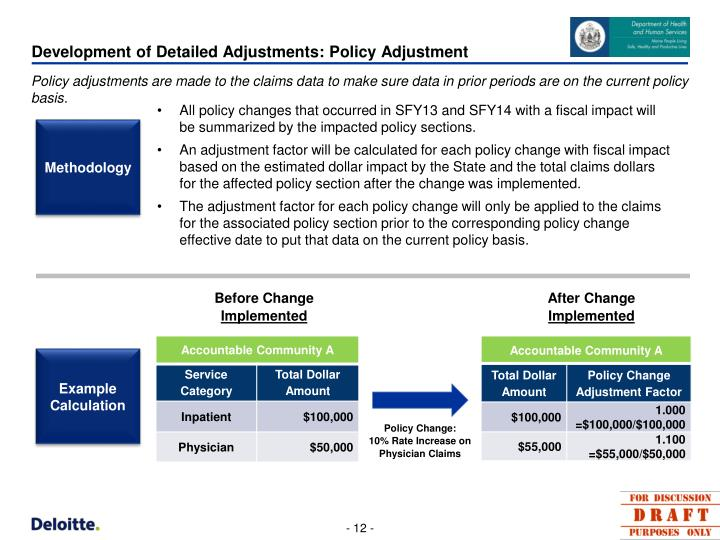 Development of Detailed Adjustments: Policy Adjustment