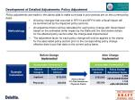 development of detailed adjustments policy adjustment