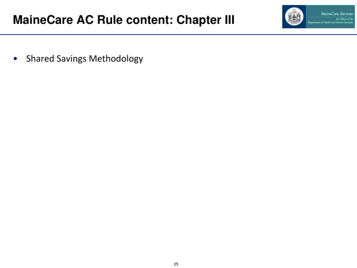 MaineCare AC Rule content: Chapter III