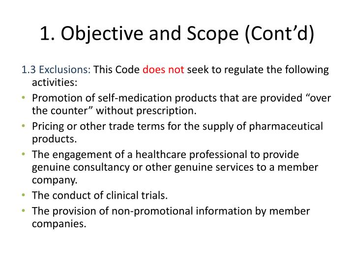 1. Objective and Scope (Cont'd)