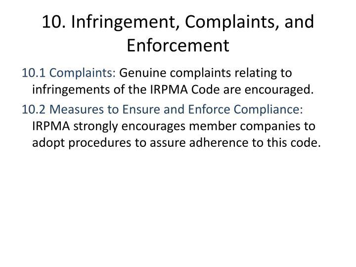 10. Infringement, Complaints, and Enforcement