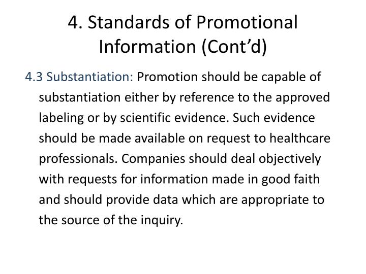 4. Standards of Promotional Information (Cont'd)
