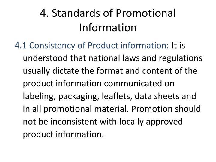4. Standards of Promotional Information