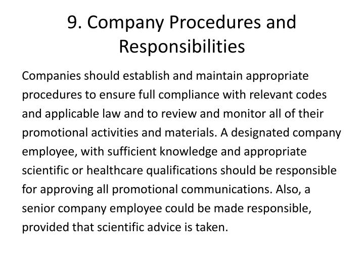 9. Company Procedures and Responsibilities