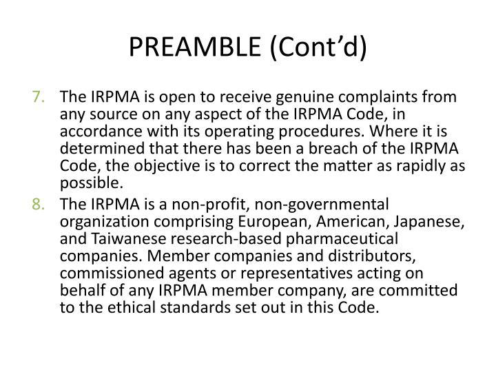 PREAMBLE (Cont'd)