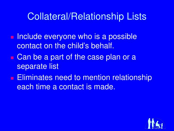 Collateral/Relationship Lists