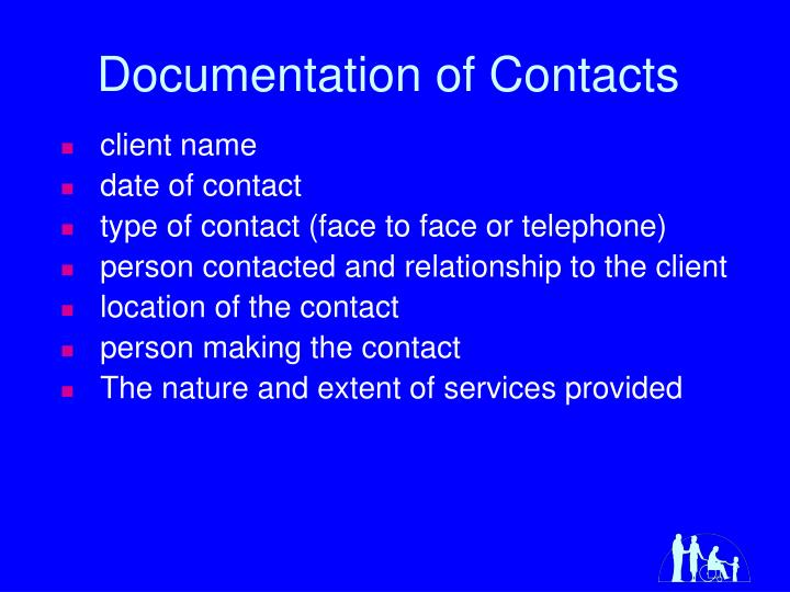 Documentation of Contacts