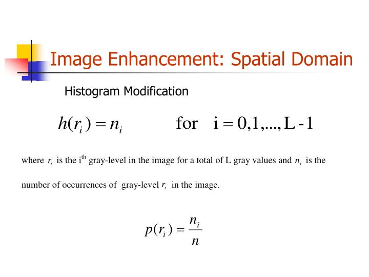 Image enhancement spatial domain