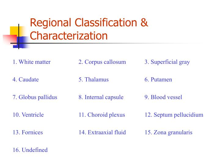 Regional Classification & Characterization