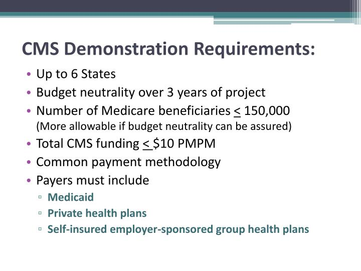 Cms demonstration requirements