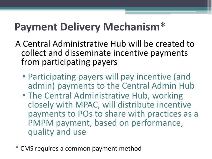 Payment Delivery Mechanism*