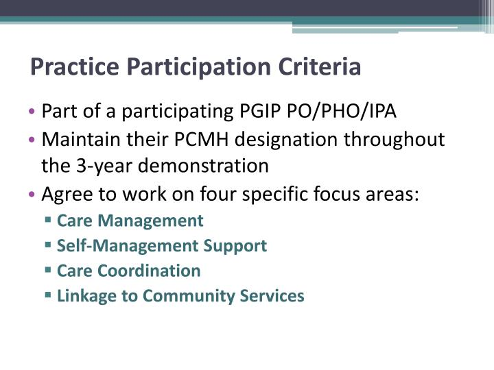 Practice Participation Criteria