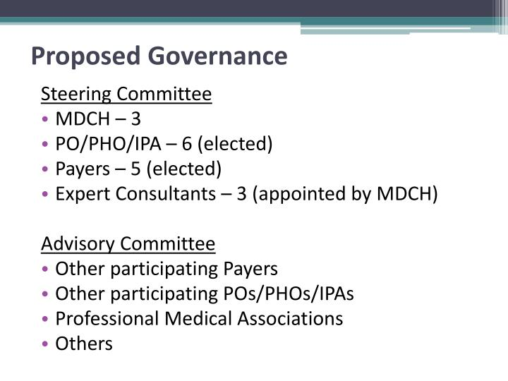 Proposed Governance